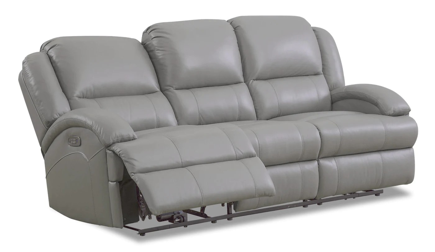 Giovanni Genuine Leather Power Reclining Sofa With Lumbar - Grey Brick