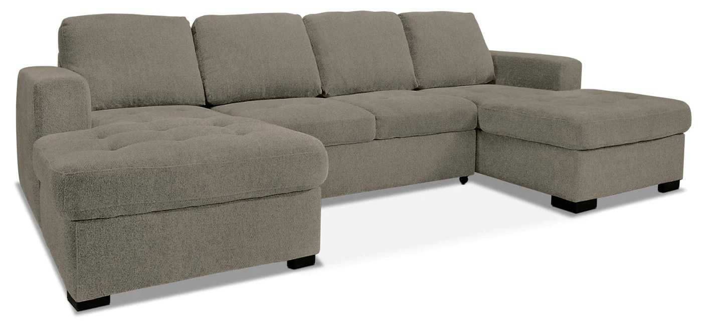 sofa bed and chaise madeline robin bruce izzy 3 piece chenille sectional with two chaises platinum tap to expand