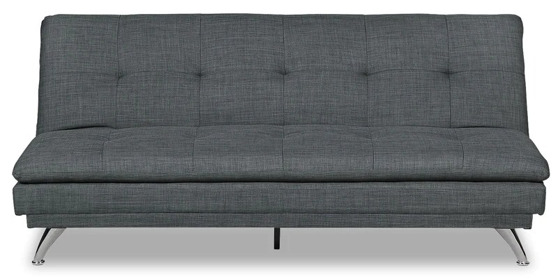 queen bed sofa 8 foot cover beds and futons the brick june linen look fabric futon grey en tissu d apparence