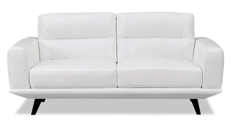 genuine leather sofa and loveseat copenhagen randers sofascore living room collections the brick kendra arctic white