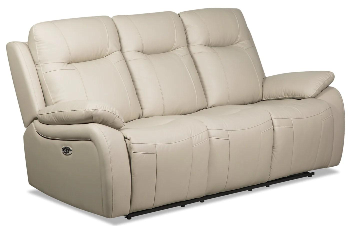 Kora Genuine Leather Power Reclining Sofa Beige