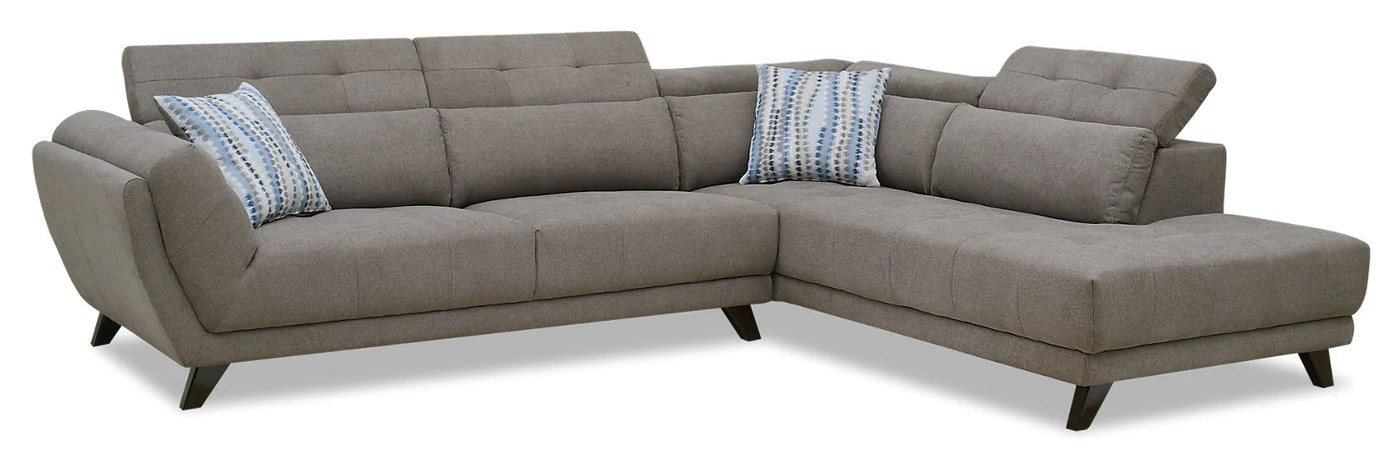 louis 2 piece chenille right facing sectional grey