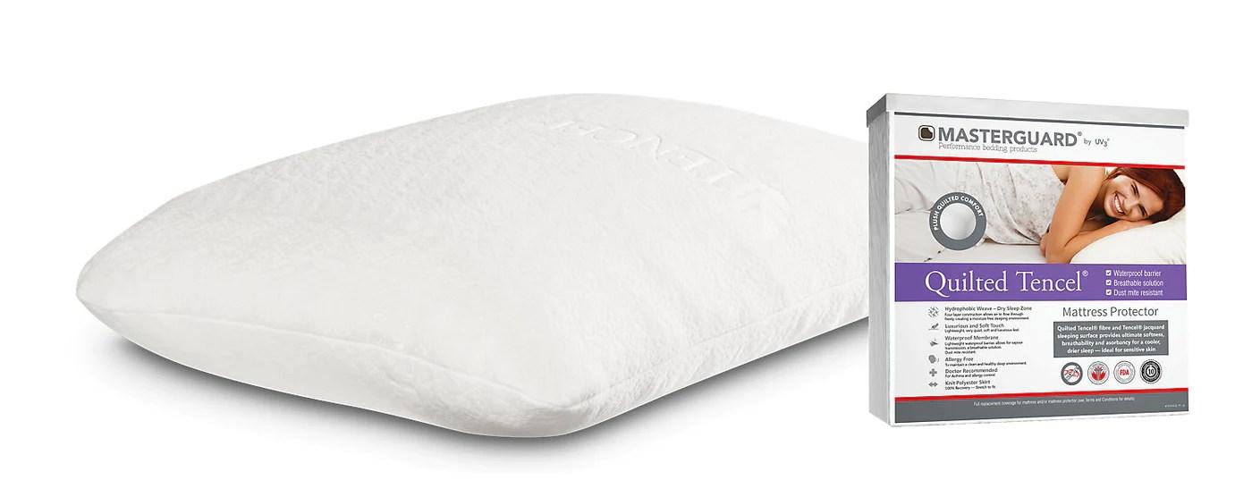masterguard tencel full mattress protector with 1 standard memory foam pillow