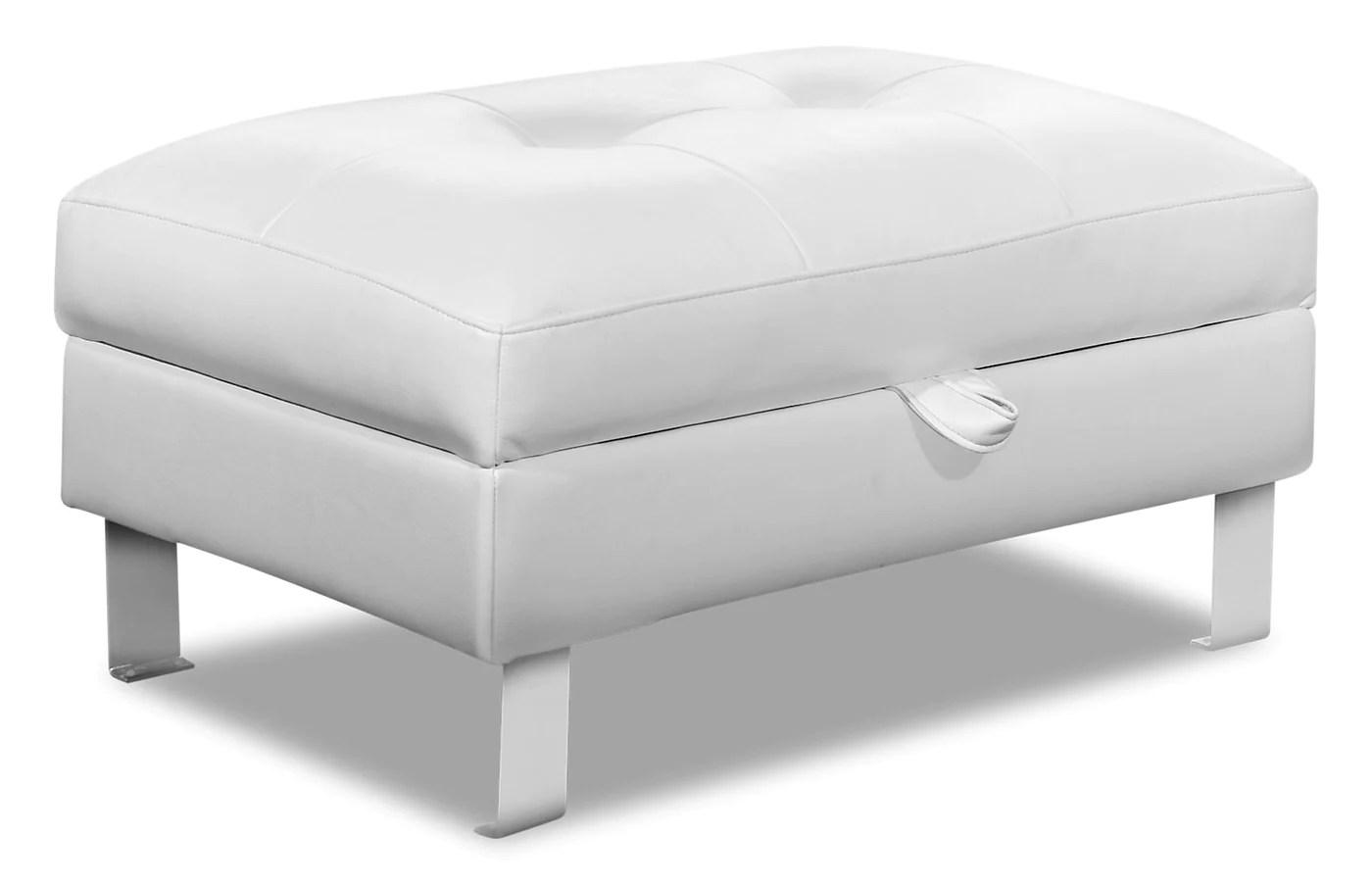 pouf de rangement theo en tissu d apparence cuir blanc