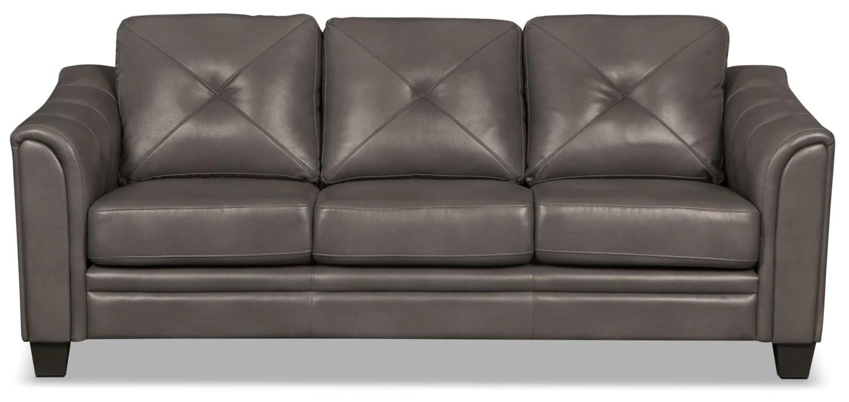 grey fabric sofa next reclining leather sets sale andi look the brick greysofa en tissu d apparence cuir gris