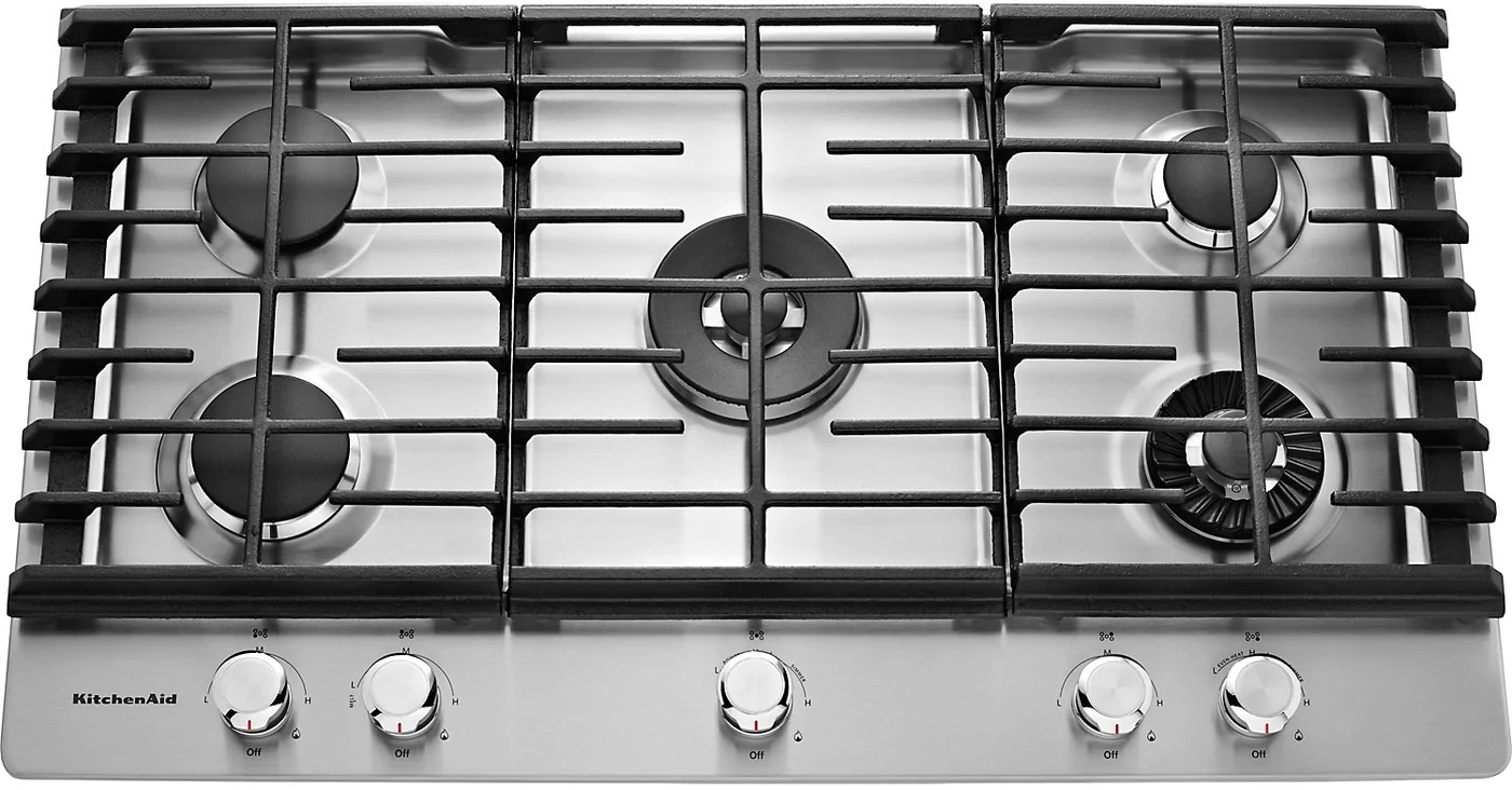 kitchen aid cooktop bar chairs kitchenaid 36 5 burner gas with griddle stainless steel tap to expand