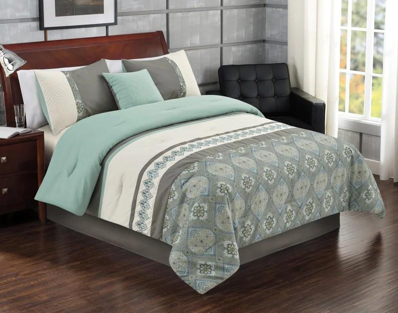 hampton 4 piece queen comforter set blue ensemble d edredon hampton 4