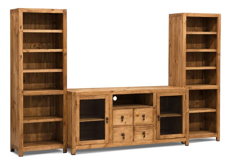 santa fe rusticos 3 piece solid pine entertainment centre with 59 tv opening