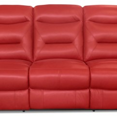 Leather Red Sofa Kid Sized River Genuine Power Reclining The Brick Redsofa A Inclinaison Electrique En Cuir Veritable Rouge