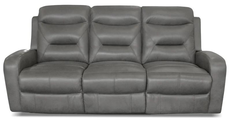grey power reclining sofa big fluffy sofas the brick river genuine leather a inclinaison electrique en cuir