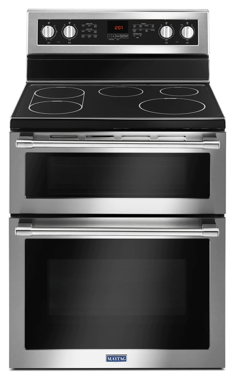 kitchen ranges cleaning wood cabinets the brick ft double oven electric range with true convection ymet8800fz