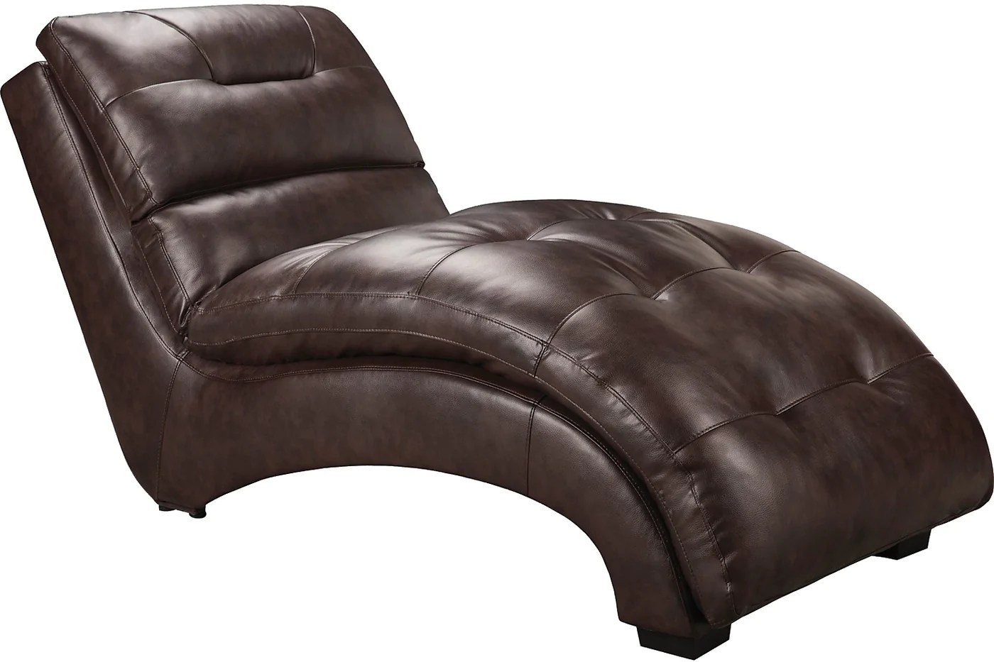 charlie faux leather curved chaise brown