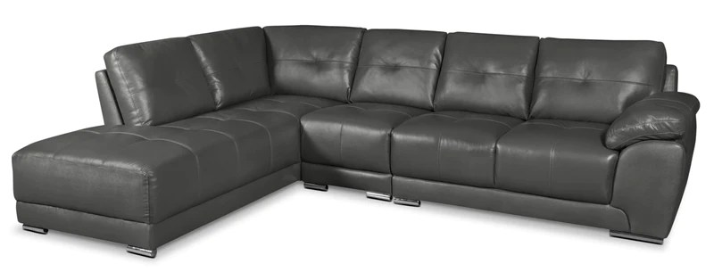rylee 3 piece genuine leather left facing sectional grey sofa sectionnel de