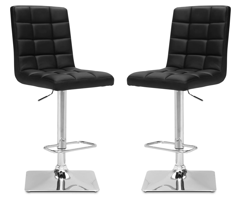 kitchen bar chairs iskand axel high back adjustable stool set of 2 black the brick blacktabouret reglable a dossier haut ensemble de noir