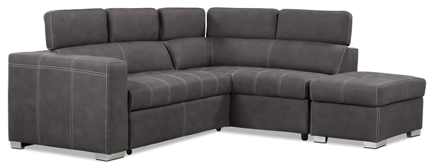 sofa bed in sale leather repair melbourne drake 3 piece faux suede right facing sleeper sectional cement tap to expand on