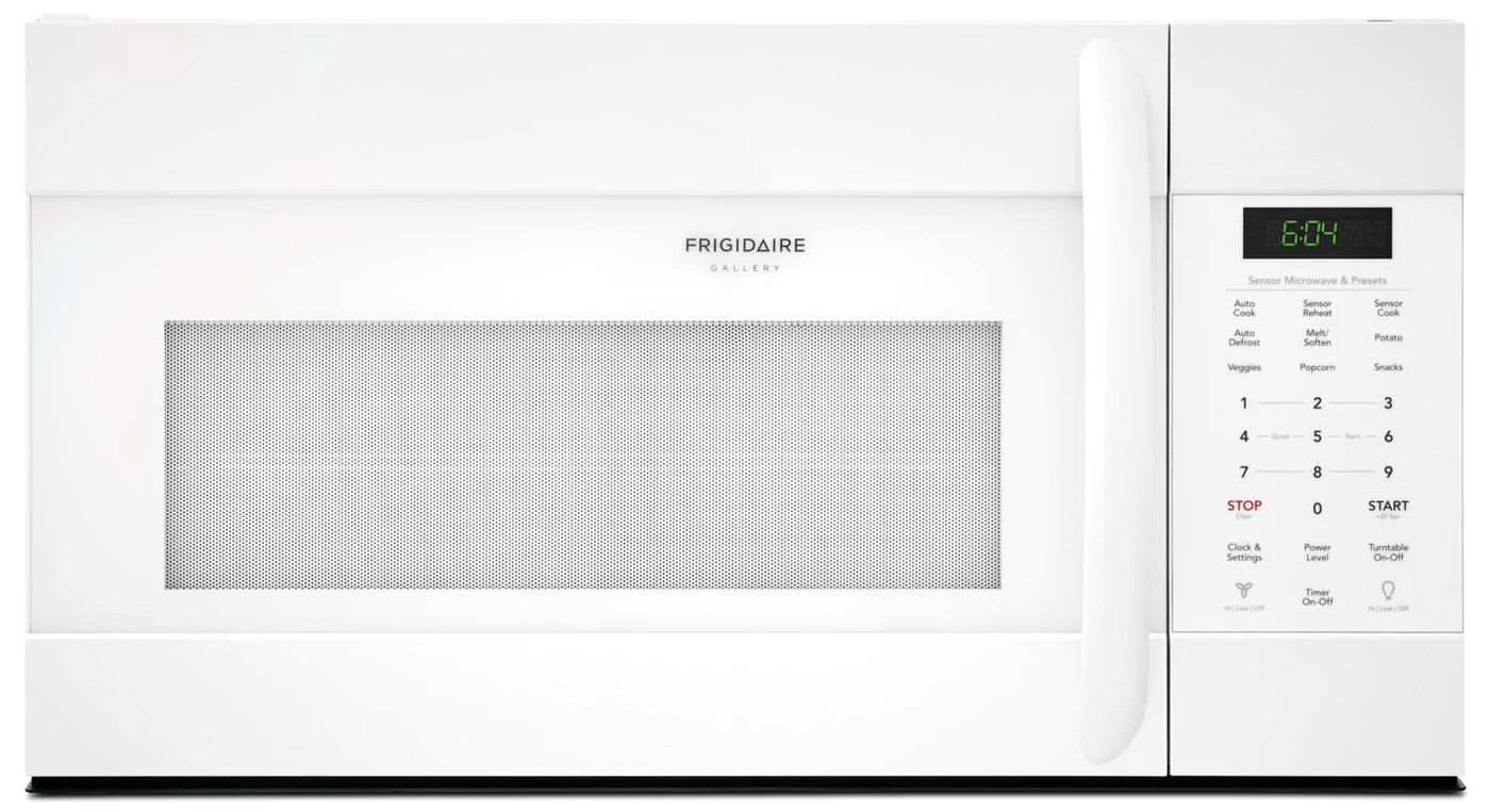 frigidaire gallery 1 7 cu ft over the range microwave with sensor cook cgmv176ntw