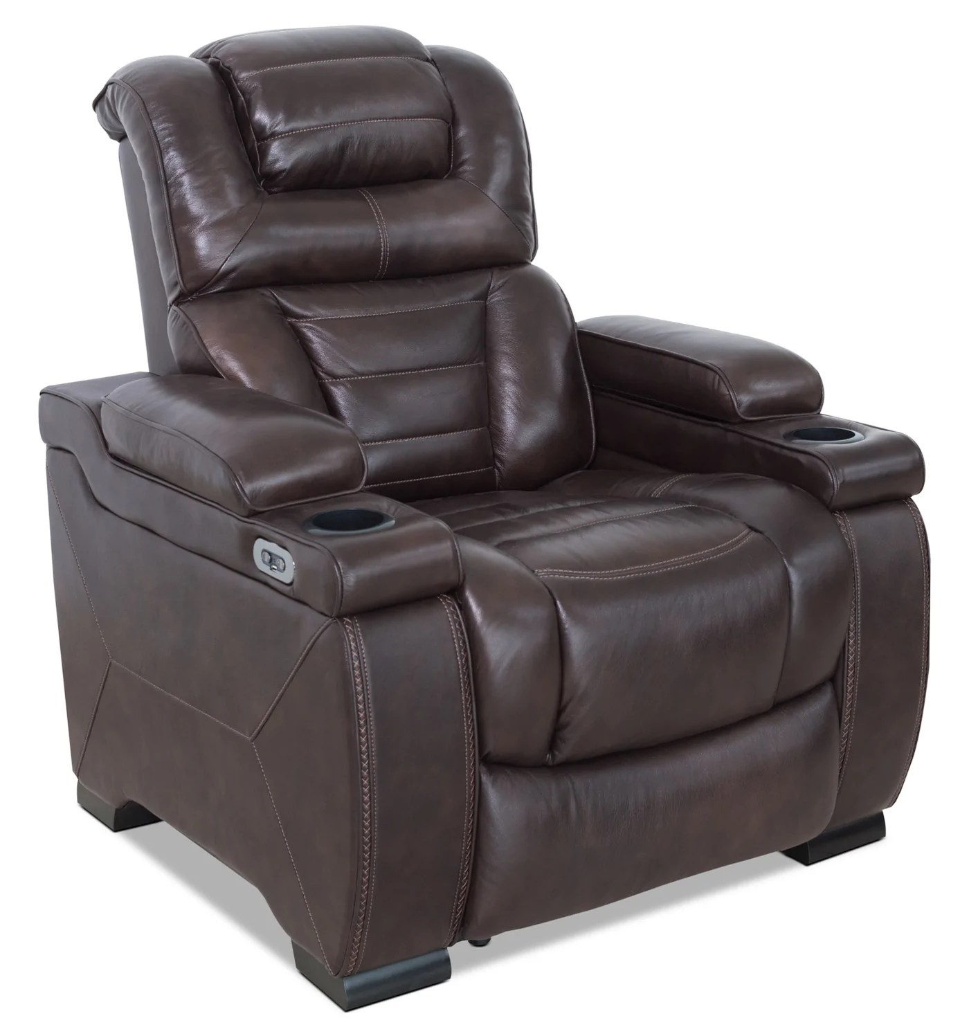 Leather Reclining Chairs Hugo Genuine Leather Power Reclining Chair Brown
