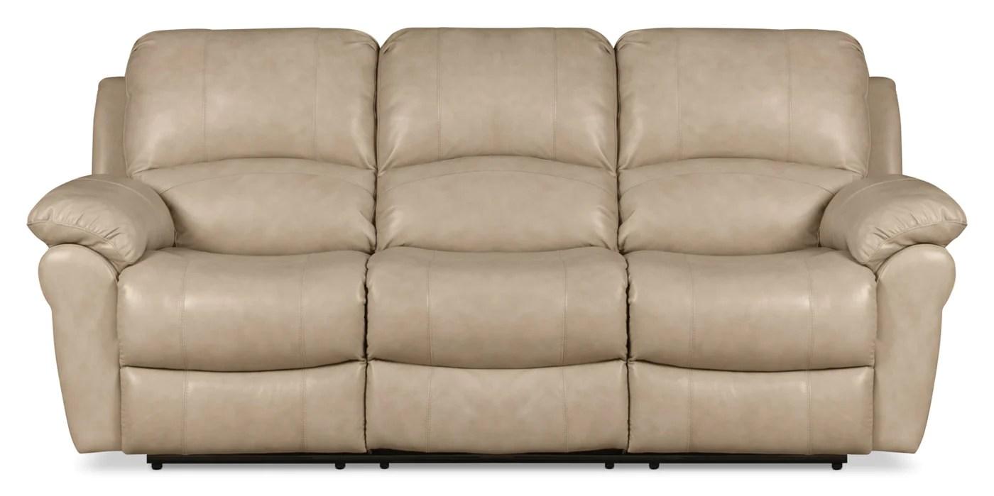 Kobe Genuine Leather Reclining Sofa Stone