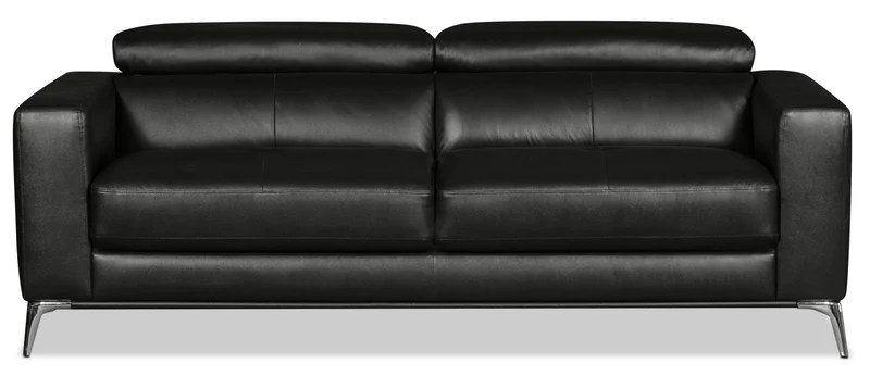 black leather sofa rowe sleeper mattress sofas the brick tyra genuine en cuir veritable noir