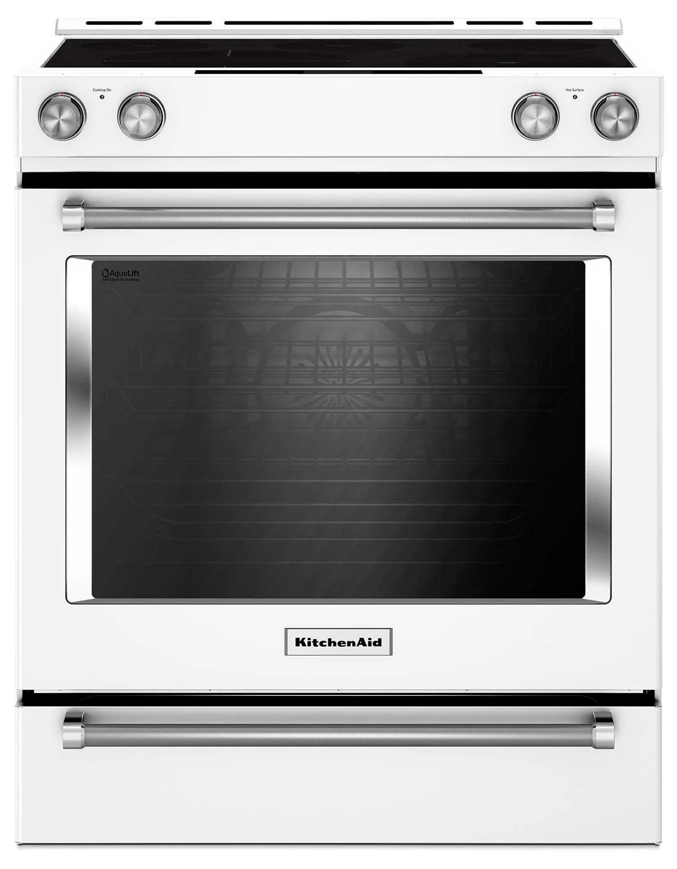 kitchen aid stove best laminate flooring for kitchenaid 7 1 cu ft slide in convection range with baking drawer whitecuisiniere encastree de pi a avec tiroir cuisson