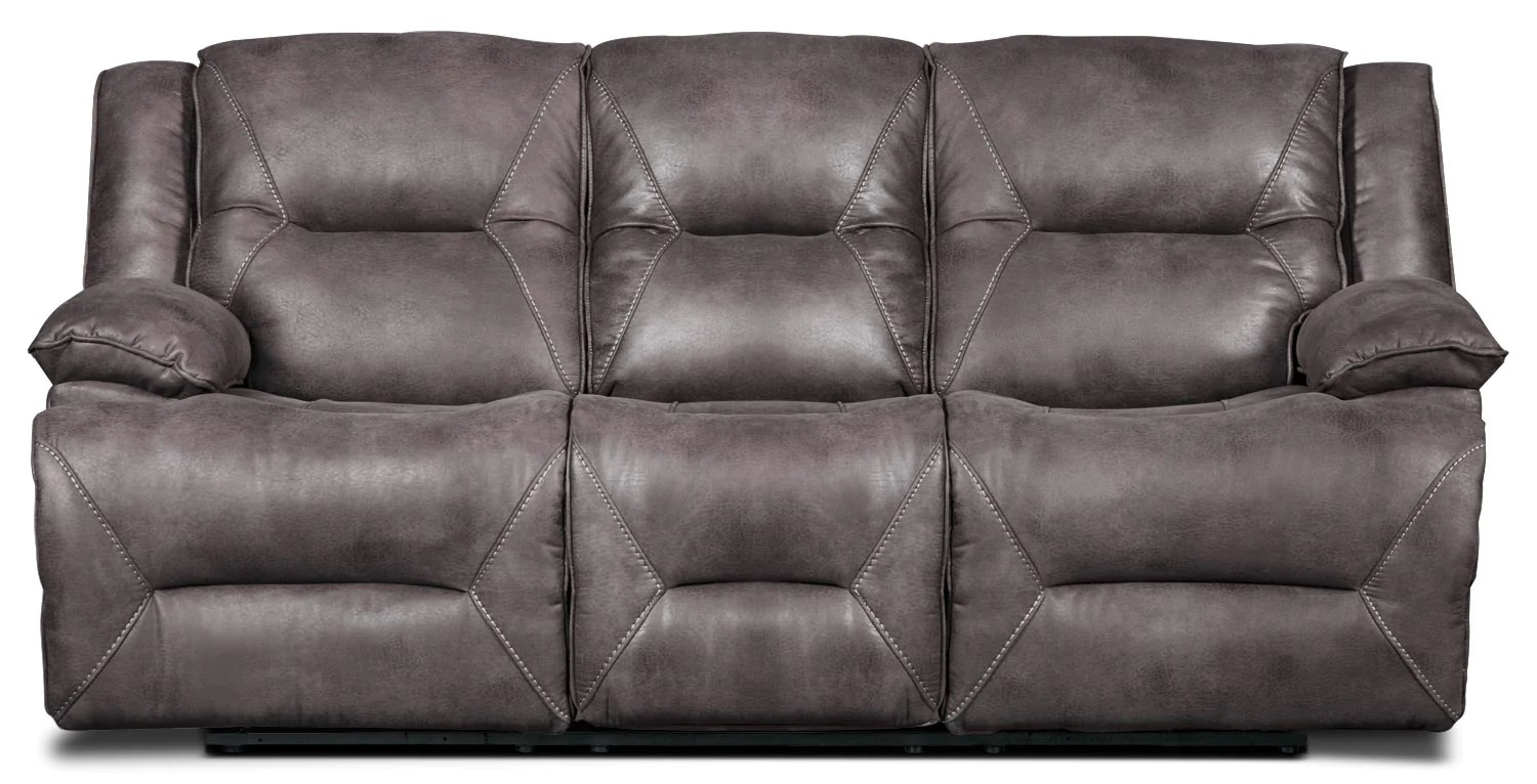 faux suede sofa cleaning instructions american leather memory foam sleeper lancer fabric power reclining grey the brick greysofa a inclinaison electrique en suedine gris