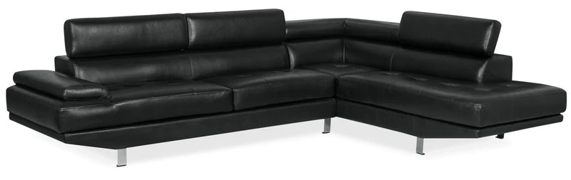leather sofa repair london ontario arm covers wood sectionals the brick ozzie 2 piece look fabric studio size right facing sectional