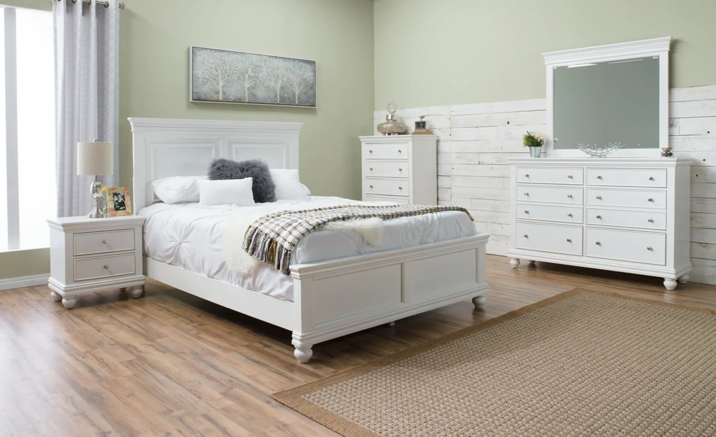 Chambre Obscure Def Bridgeport 8 Piece King Bedroom Set White