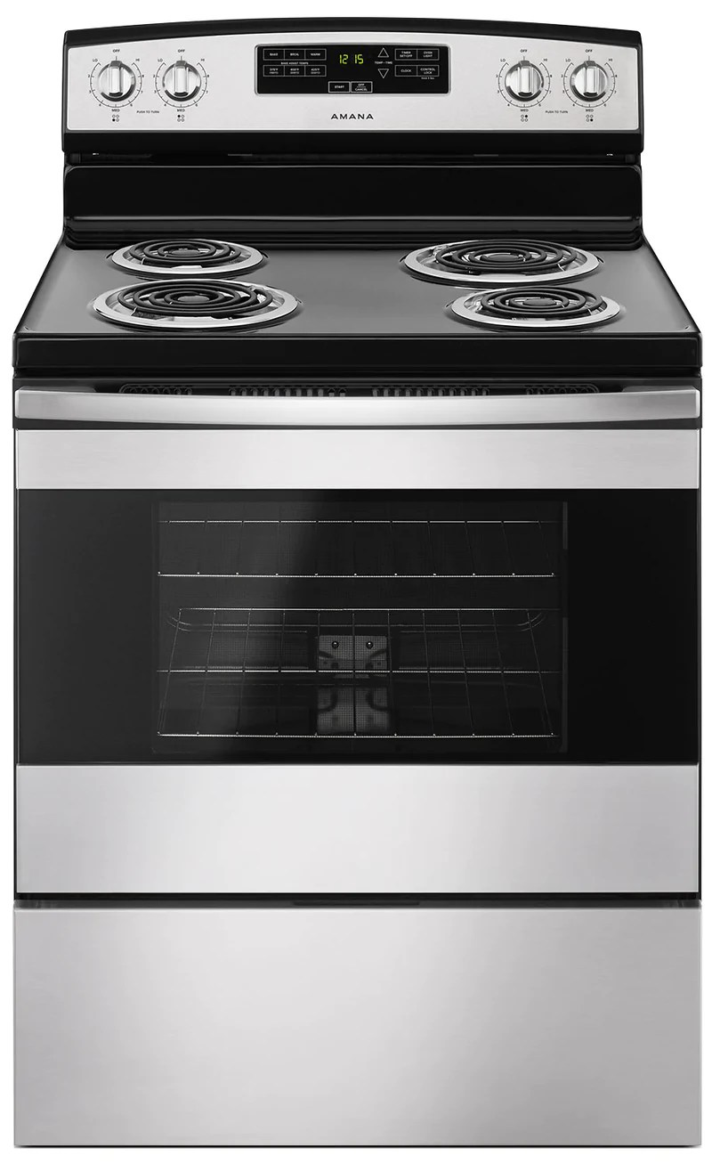 kitchen stoves cheap makeover ranges the brick ft freestanding electric range yacr4303mfs cuisiniere electrique amovible amana
