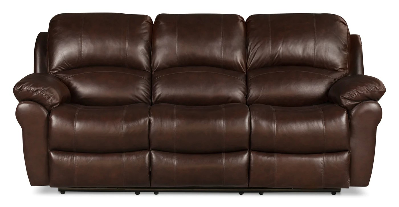reclining sofa leather brown grey with nailheads kobe genuine power the brick tap to expand