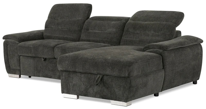 thad 2 piece chenille right facing sleeper sectional grey sofa sectionnel de
