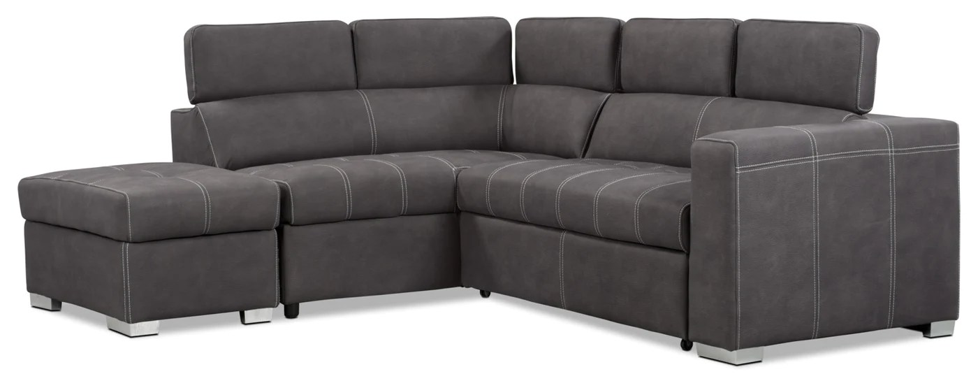 sofa bed in sale teak outdoor drake 3 piece faux suede left facing sleeper sectional cement tap to expand on