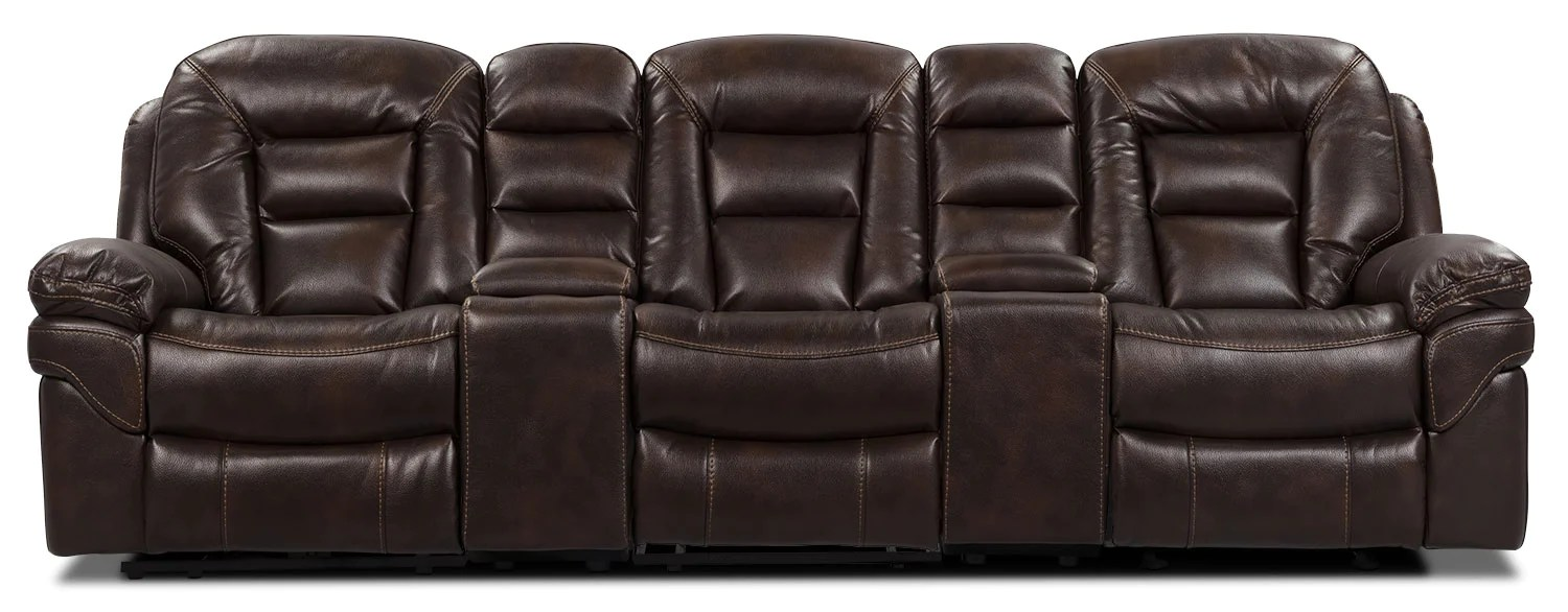 home theater reclining sectional sofa and loveseat sets under 1000 leo leath aire fabric 5 piece theatre w walnutsofa sectionnel a inclinaison pieces en tissu pour cinema maison