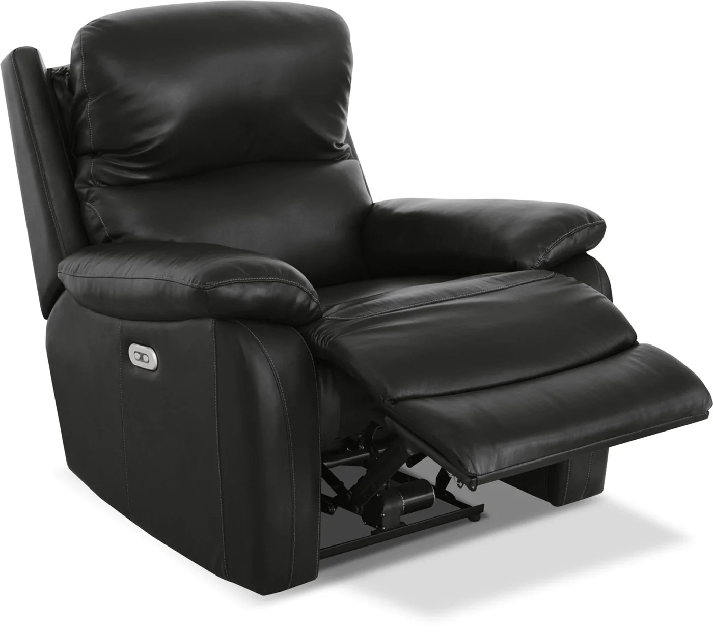 Leather Reclining Chairs Grove Genuine Leather Power Reclining Chair With Adjustable Headrest Black