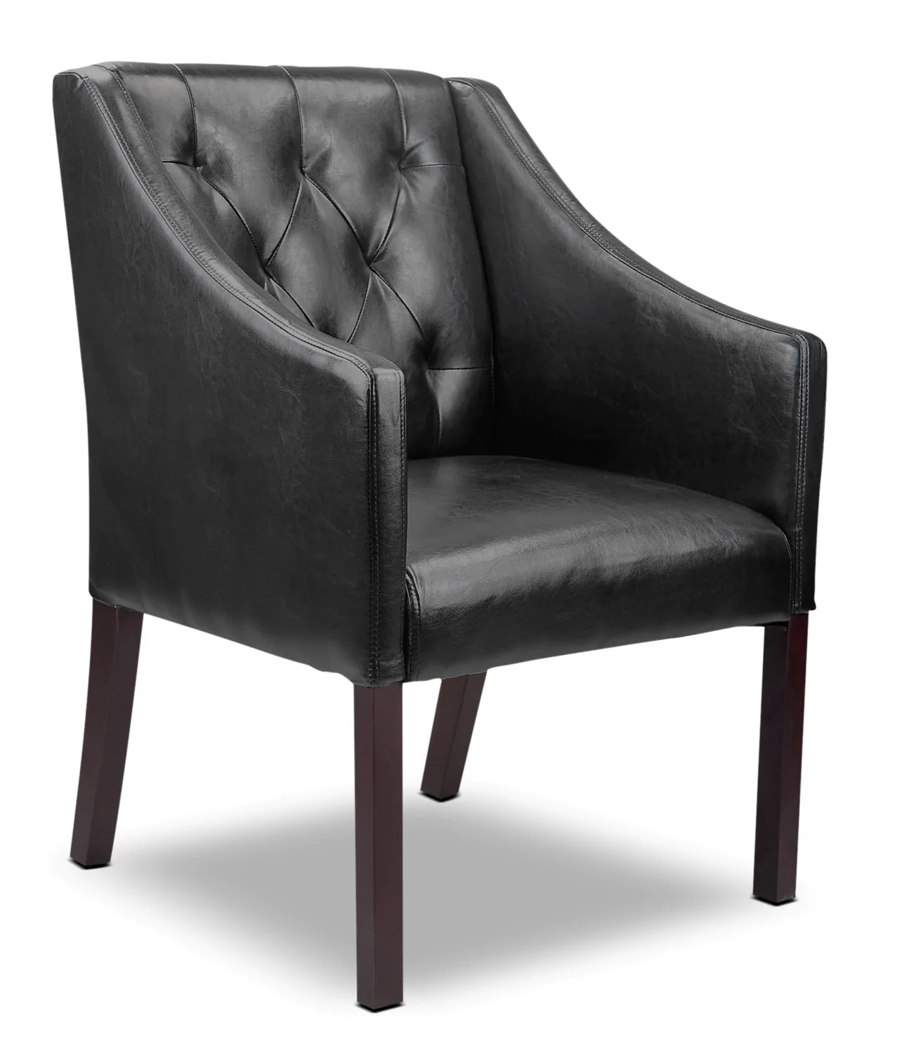 Black Accent Chairs Lad Bonded Leather Button Tufted Accent Chair Black