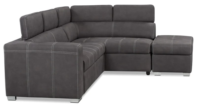 Drake 3Piece Faux Suede RightFacing Sectional with Sofa