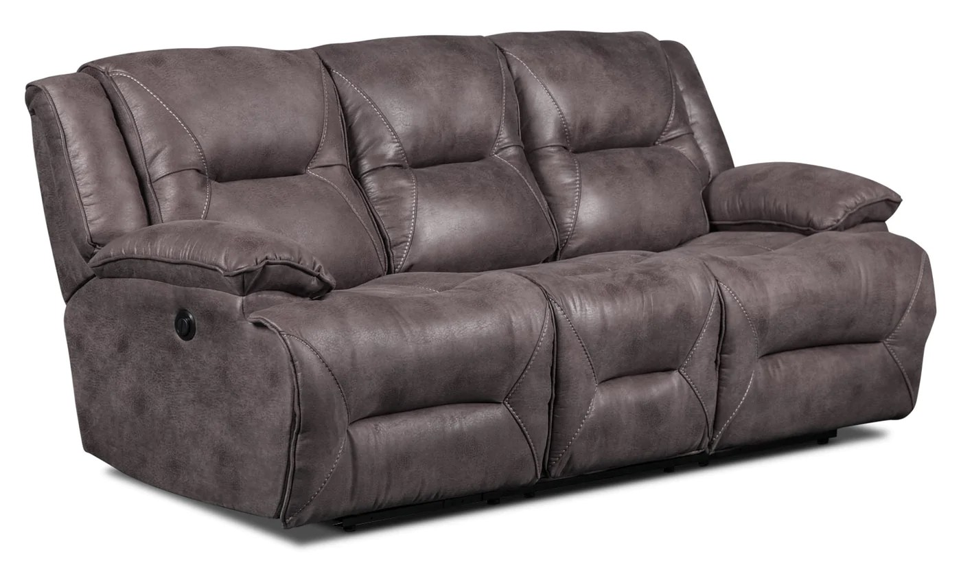 suede living room furniture how to design my lancer faux fabric power reclining sofa grey the brick previous next