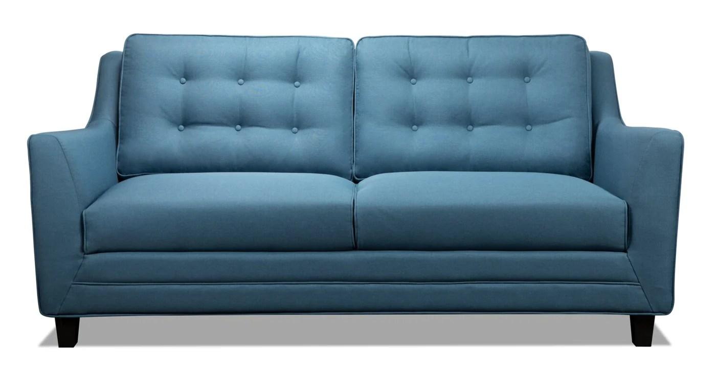 novalee linen look fabric sofa blue
