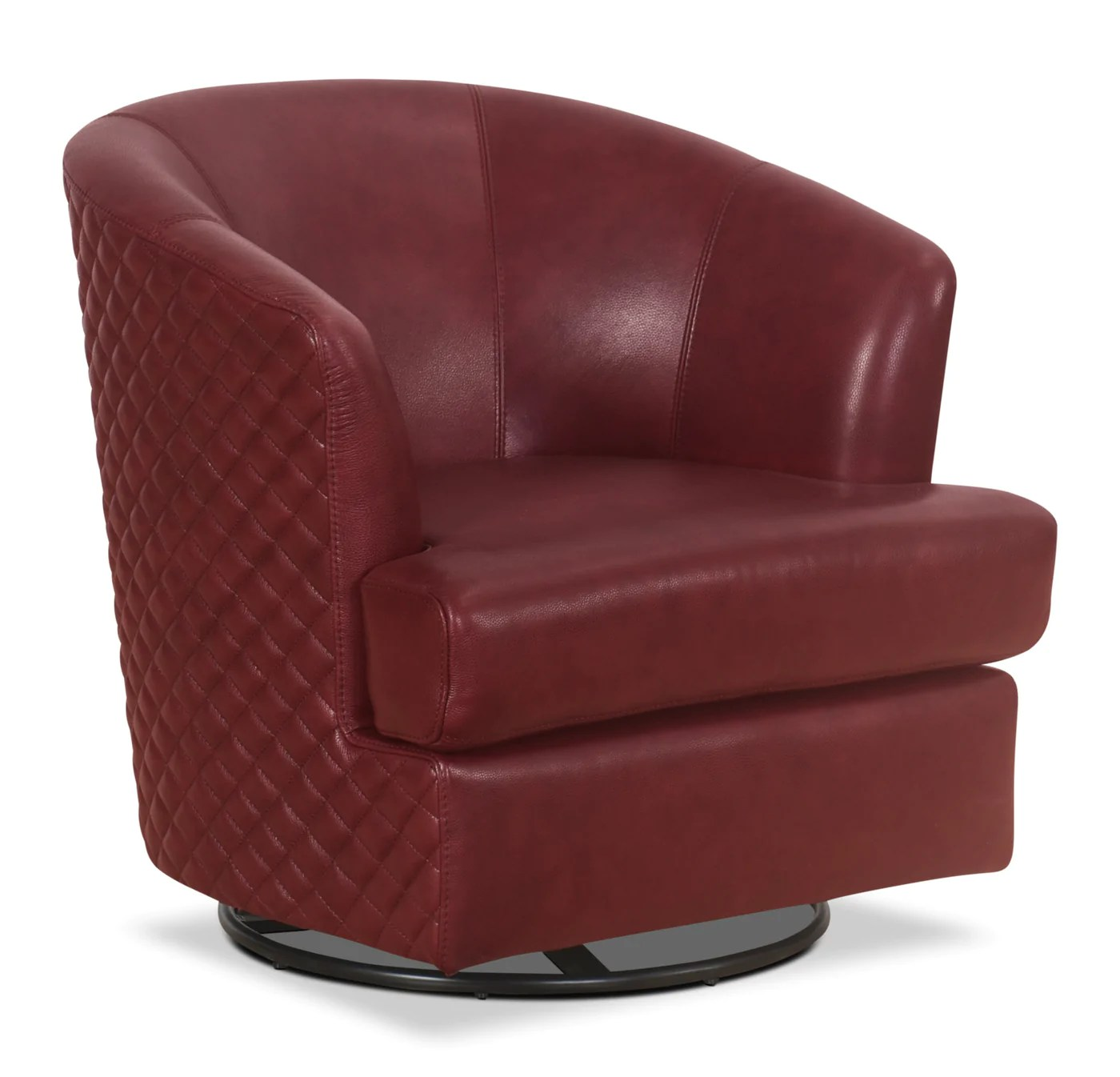 Red Leather Swivel Chair Leola 100 Genuine Leather Accent Swivel Chair Red