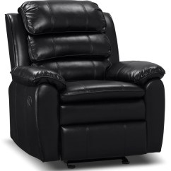 Hanging Chair Edmonton Steel Wwe Chairs The Brick Adam Leather Look Fabric Reclining Glider Black Fauteuil Coulissant Et Inclinable