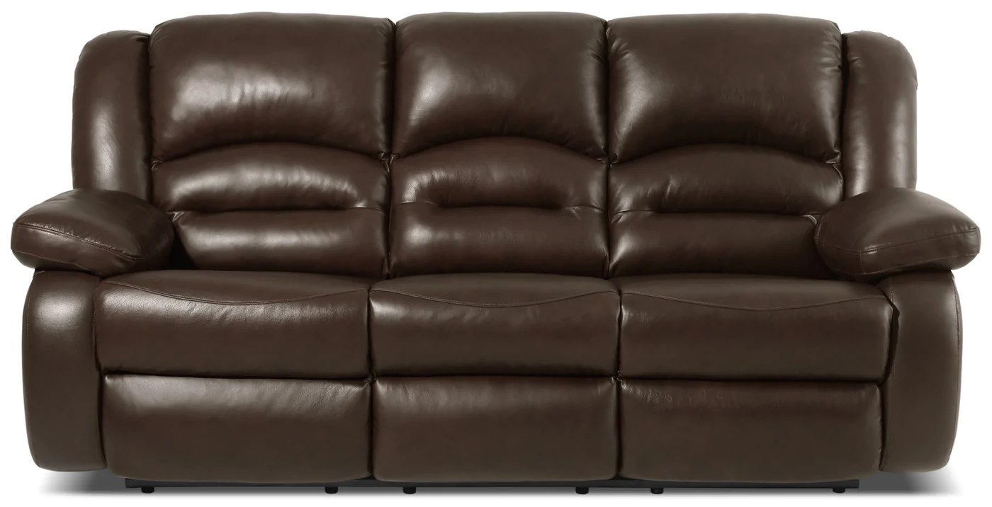 reclining sofa leather brown jack teal tufted tuxedo toreno genuine power the brick tap to expand