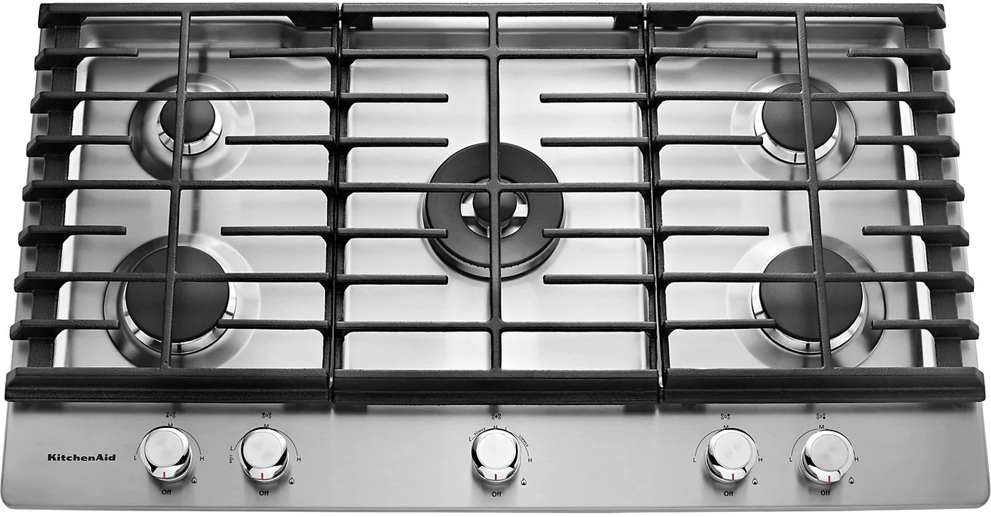 kitchen aid cooktop gadget store kitchenaid 36 5 burner gas stainless steel the brick tap to expand