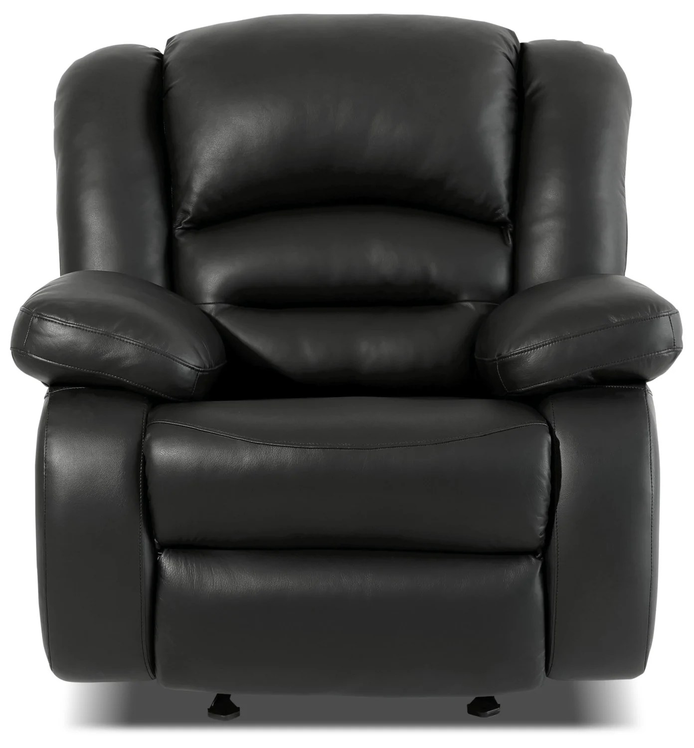 Leather Reclining Chairs Toreno Genuine Leather Reclining Glider Chair Black