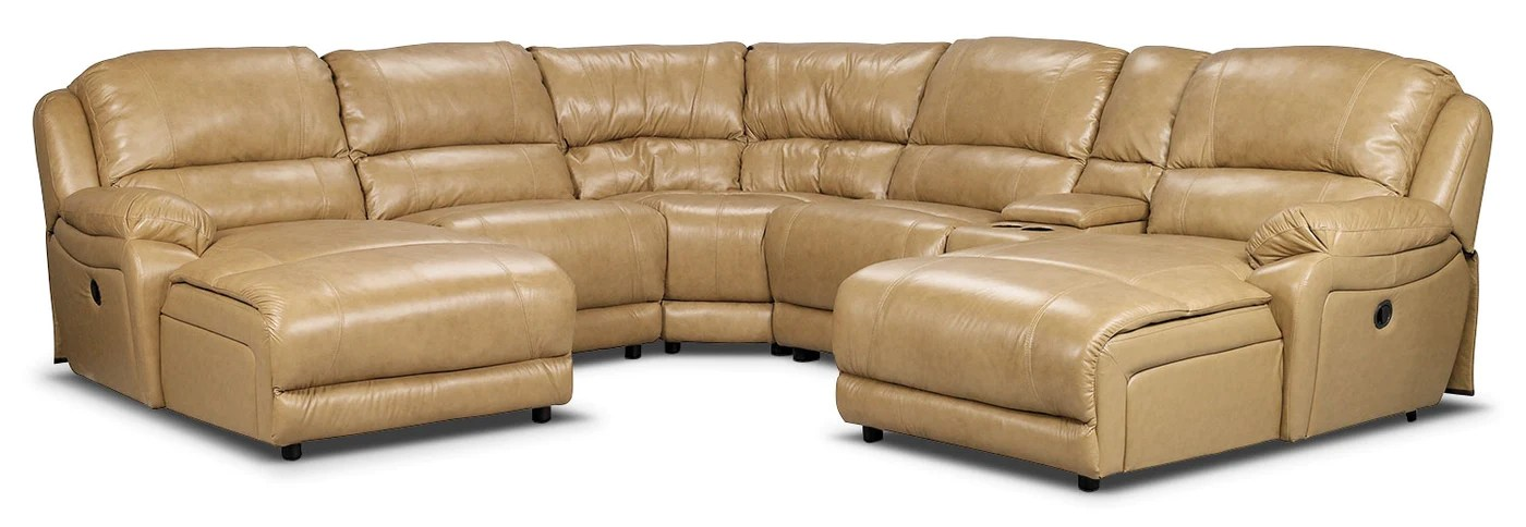 marco 6 piece genuine leather power reclining sectional with 2 inclining chaises toffee