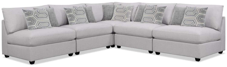 emma 5 piece linen look fabric modular sectional greysofa sectionnel modulaire emma 5 pieces en tissu apparence lin gris