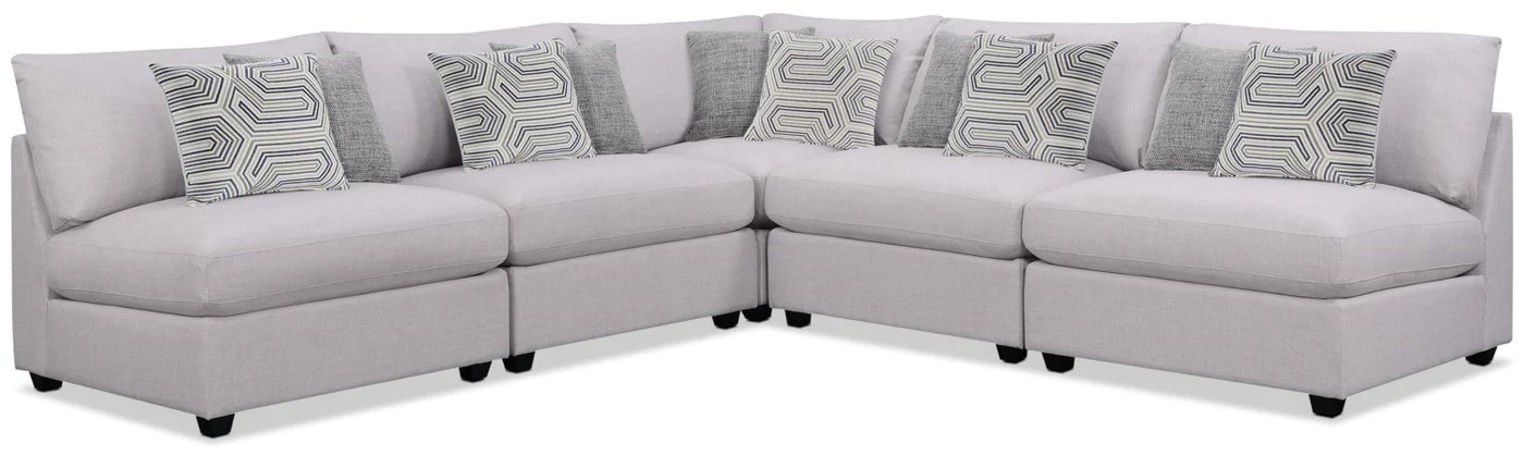 emma 5 piece linen look fabric modular sectional grey