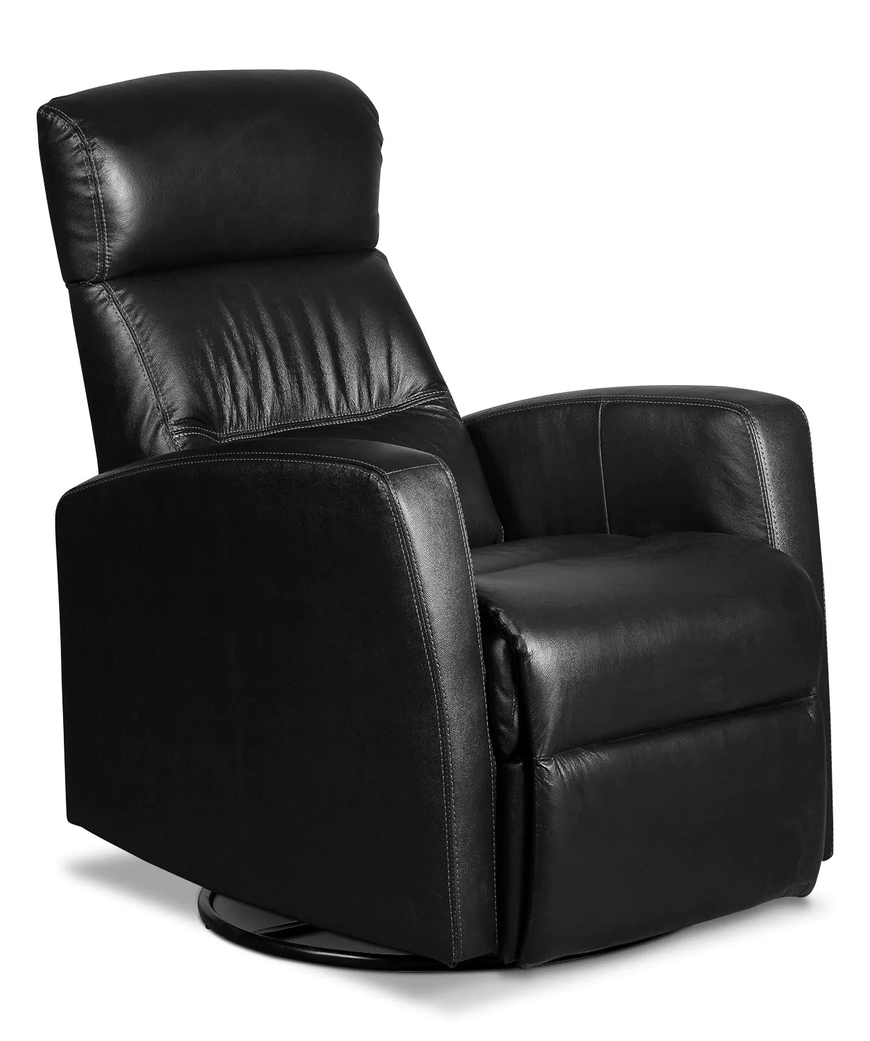 Swivel Rocker Recliner Chair Penny Genuine Leather Swivel Rocker Reclining Chair Black