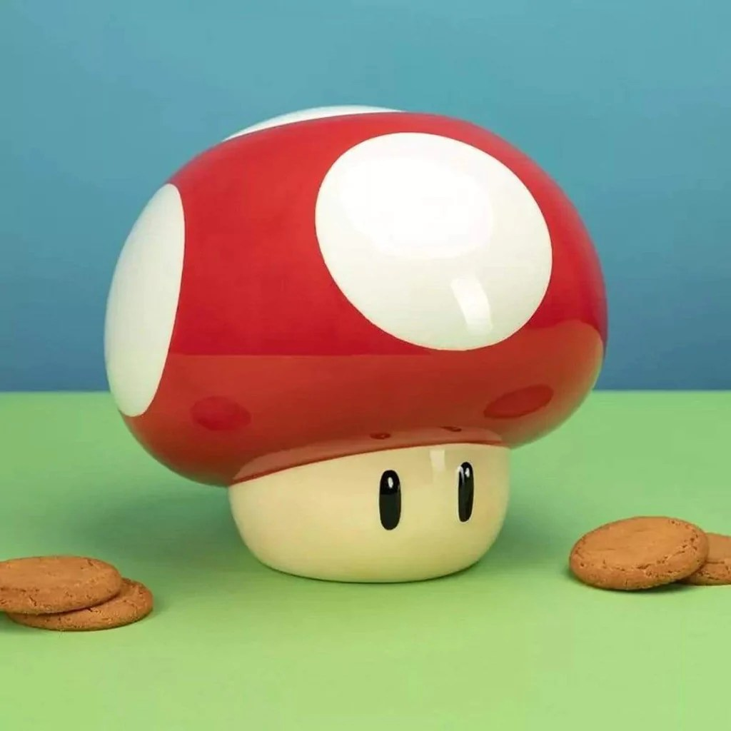 Mario Bros Mushroom Ceramic Cookie Jar By Nintendo