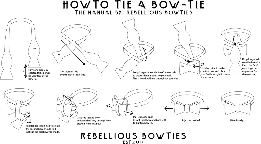 how to tie a bow step by diagram root cause fishbone template rebellious bowties have one side 2 in shorter this will be your face of the