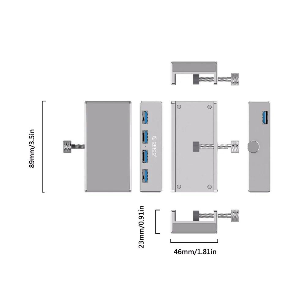 aluminum alloy clip on usb hub for for monitor or desk onlykey  [ 1000 x 1000 Pixel ]