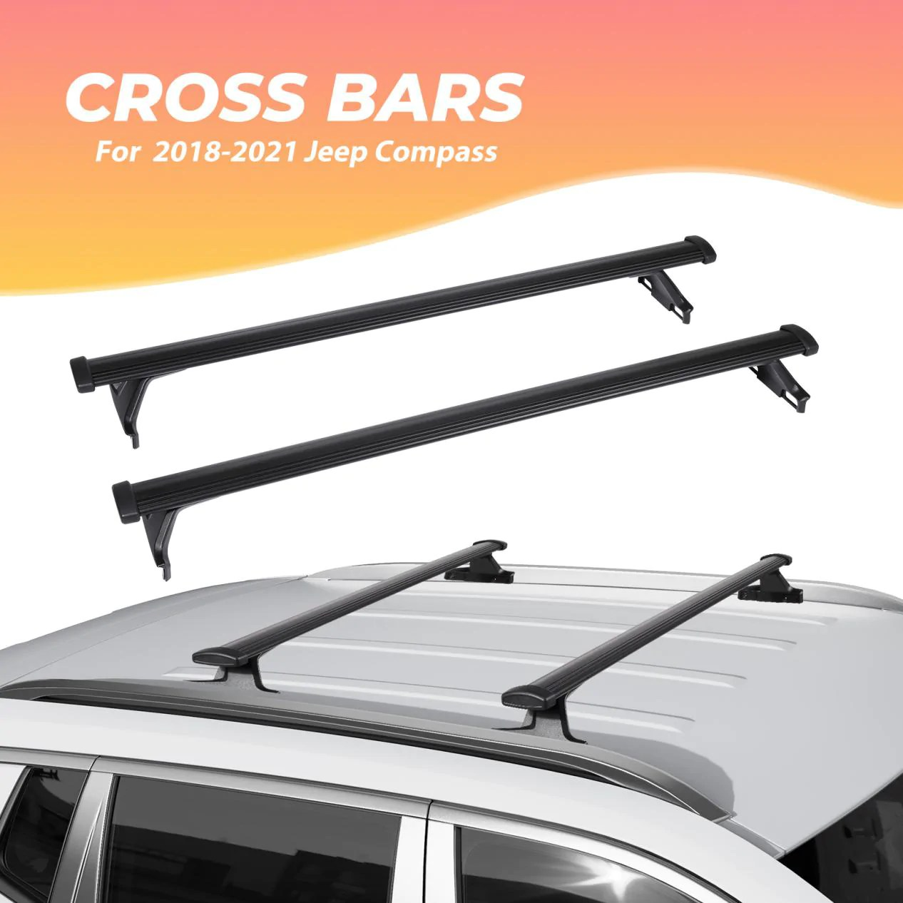 car roof rack cross bars for 2018 2021 jeep compass with side rails a bougerv